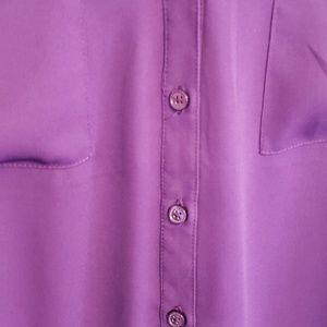 Express Tops - Express Portofino Sheer Purple Blouse SZ M